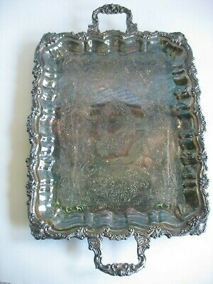 """Vtg silverplate Silver On Copper Footed Handled Serving Tray LRG 25"""" x 16"""" shell"""
