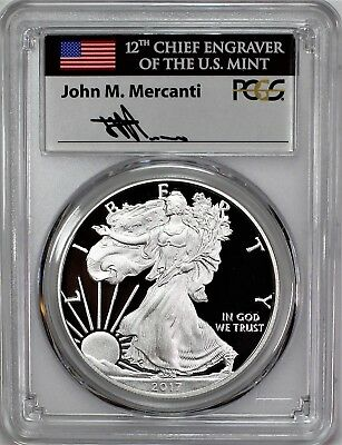 2017 W Proof Silver Eagle PCGS PR70 DCAM First Day of Issue Mercanti 1 of 1500