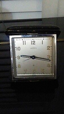 ANGELUS 8 DAY VINTAGE SWISS FOLDING Travel Alarm Clock good  condition fast