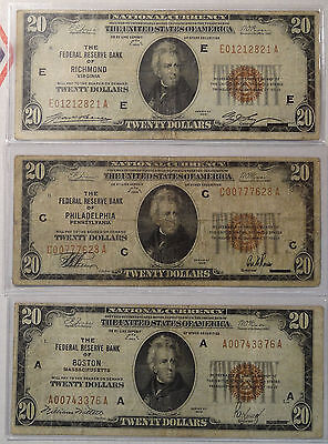 Lot of Three, $20 Federal Reserve Bank Notes, Decent Circ Notes  0831-29