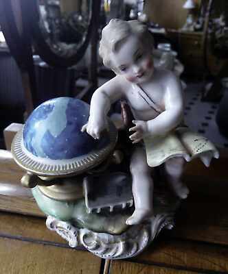 "Figura ""Niño con Bola del Mundo"" firma s.XIX -XX Antique Figure ""Child"" - 75€"