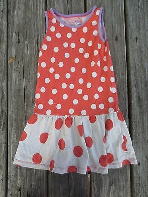 Mini Boden ~ Girls Polka Dot Ivory Orange Lavender Dress ~ Size 7-8