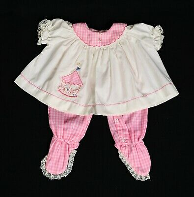 VTG Girl's Nannette Pink Gingham Check Carousel Frilly Lace Pants Set Outfit