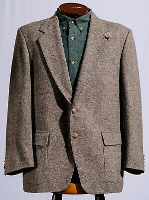 """VTG Farah Gray Wool Donegal Tweed Sport Coat Hunting Jacket Elbow Patches 46"""""""