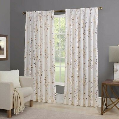 Willow 84-Inch Back Tab Window Curtain Panel in Gold Floral