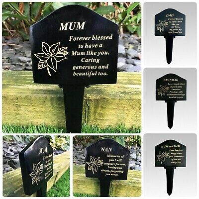 Black & Gold Memorial Lily Graveside Stake Spike Pick Crematorium Plaque Garden
