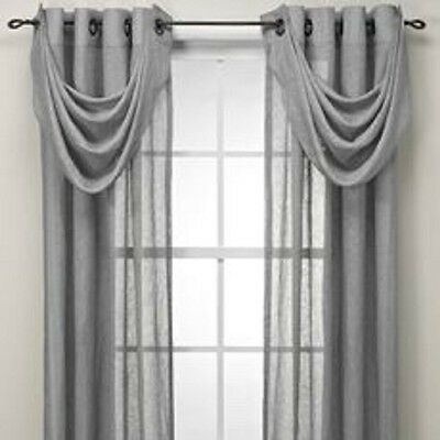 Cosmo Grommet Waterfall Sheer Window Valance in Taupe 100% Linen