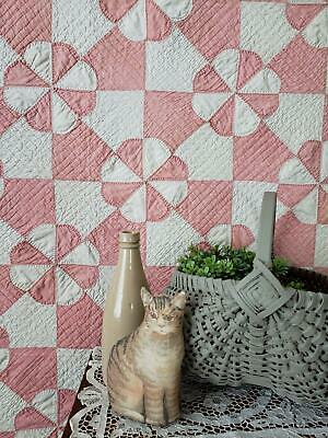 Antique Hearts & Gizzards QUILT Gorgeous Quilting 73x70 Aged Patina