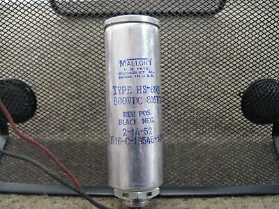 1 NOS MALLORY HS-693 8MFD 600VDC Electrolytic Audio Filter Capacitor 2/14/52