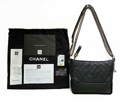 d90eb08386b0 100%Auth BRAND-NEW CHANEL GABRIELLE HOBO Quilted BLK Aged Calfskin Medium