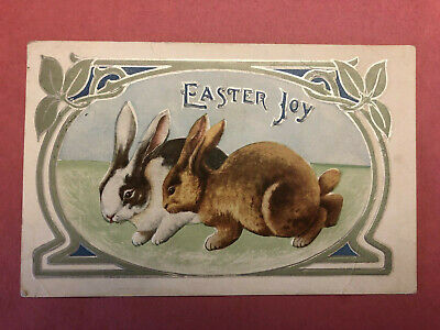 Antique Vintage Art Nouveau Easter Postcard Bunny Rabbits Silver EMB DB  1910