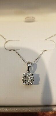"""1/8 CTTW Sterling Silver Diamond Cluster Pendant / Necklace New W/ Tag 18""""Chain"""
