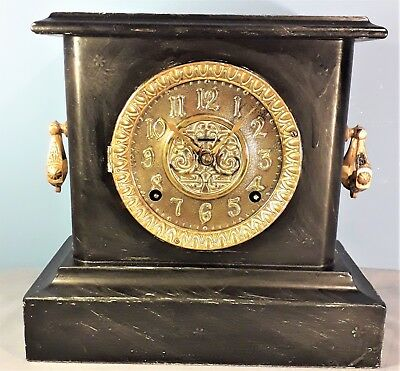 Antique American 8 Day Mantle Clock, working