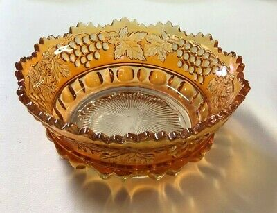 Vintage Northwood Carnival Glass Grape and Cable 9 inch Marigold Bowl