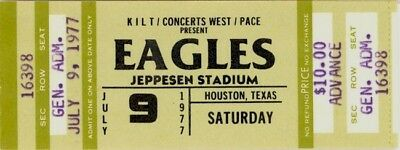 Eagles 1977 Jeppesen Stadium Unused Concert Ticket / Don Henley / Glenn Frey