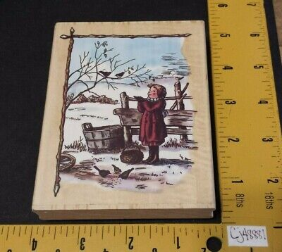 PSX Tasha Tudor Corgi Cottage Rubber Stamp K7204 Girl Feeding Birds Winter Scene