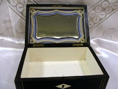 Antique 19thc Wood & Brass Inlaid Glove or Sewing Box