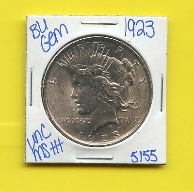 1923 Bu Gem Silver Peace Dollar Coin #5155 Free Shipping Unc Ms+++