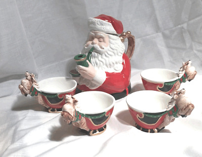 """DEPARTMENT 56 CHRISTMAS TEA """"JOLLY ST. NICK"""" Teapot and Cups"""