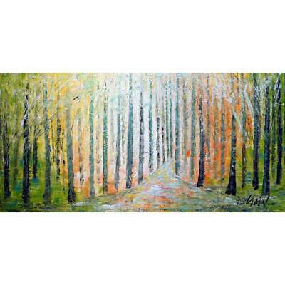 SPRING TREES Landscape FOREST Abstract Impasto Oil Painting Luiza Vizoli Large