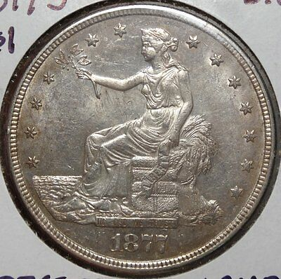 1877-S Trade Silver Dollar, Uncirculated Type Coin, Lustrous & Original  0216-03