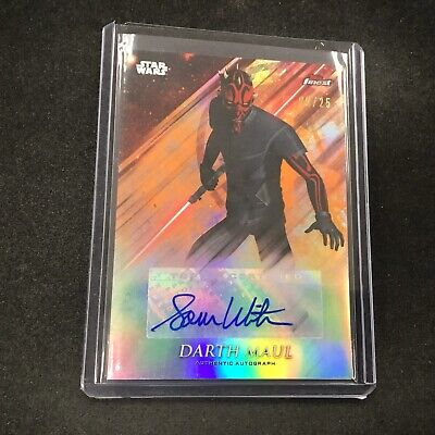 SAM WITWER as DARTH MAUL 2018 Topps Finest Star Wars Orange Auto 05/25 PHX