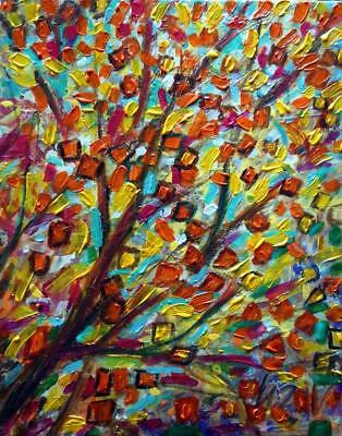 Abstract Fall Painting AUTUMN LEAVES Oil on Canvas by Luiza Vizoli
