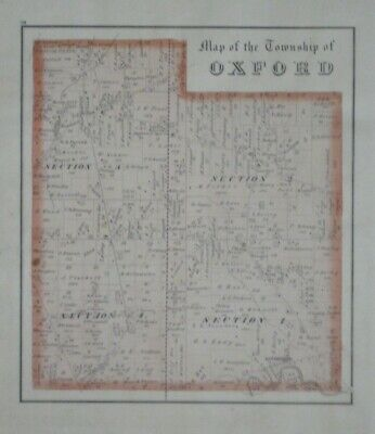 Original 1874 Map OXFORD TOWNSHIP Erie County Ohio Enterprise Bloomingville B&O