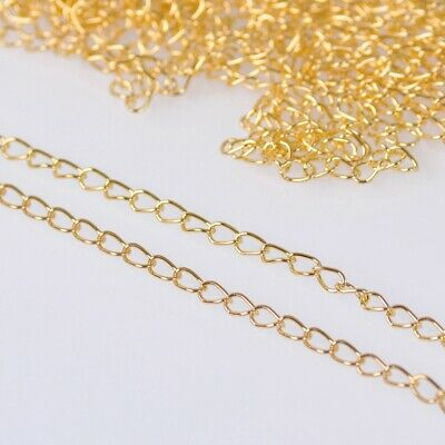 1.8mm Wide 100m Long  Gold Color Metal Jewelry Making Extension Open Link Chains