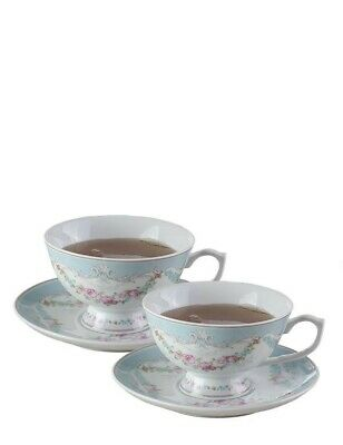 Victorian Trading Co Set of 2 French Garland Teacups & Saucers Blue w Pink Roses