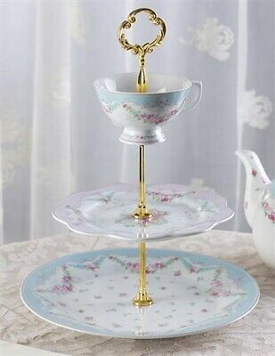 Victorian Trading Co French Garland 3-Tiered Stand Tidbit Tray Blue & Pink Roses