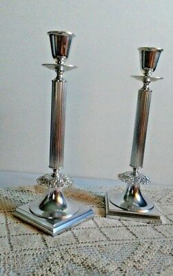 """Antique CANDLESTICK Pair Silver Plate Column GORHAM Electroplate 12 1/2"""" Nice"""