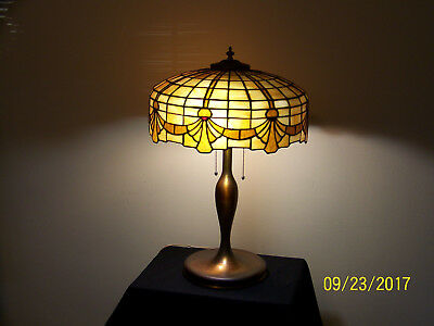 RARE Lamb Brothers&Greene Co.Chicago, Leaded Caramel Slag Stain Glass Table Lamp