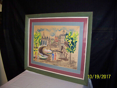 Attr. Jean Dufy Listed Artist Original Street Scene Water Color/Gouache Painting