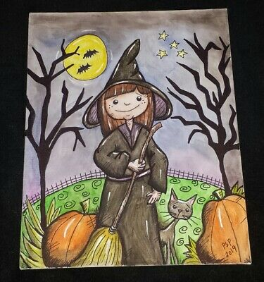 Handmade Halloween Folk Art Young Witch with Black Cat painting