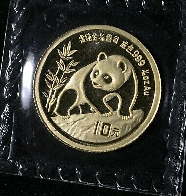 1990 Large Date China Panda Gold 1/10 oz G10Y OMP