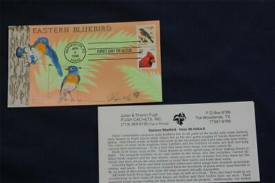 Eastern Bluebird Flora & Fauna Stamp FDC Handpainted by Pugh 4/3/96 Sc#3033