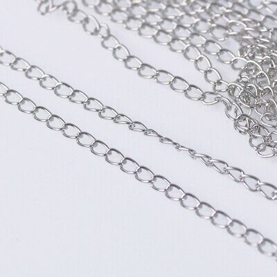 1.8mm Wide 100m Long Platinum Metal Jewelry Making Extension Open Link Chain DIY