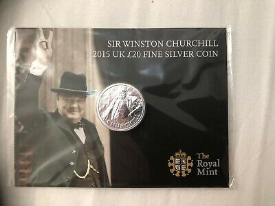 Sir Winston Churchill UK £20 Fine Silver Coin - 2015 New Sealed