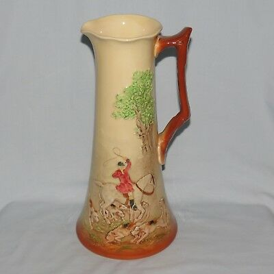 large ROYAL DOULTON FOX HUNTING LOW RELIEF TALL FIGURED JUG