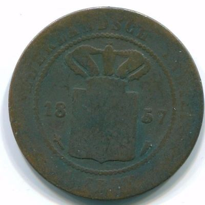 1857 Netherlands East Indies 1 Cent Copper Colonial Coin S10035