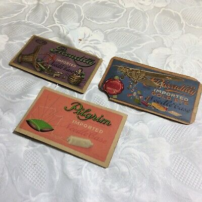 Lt Of 3 Picadilly Advertising Die Cut Cuts Sewing Golden Eye Needle Kit Antique