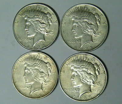 Lot of 4 Peace Silver Dollars 1922-D 1922-S 1923 1923-S VF XF Condition