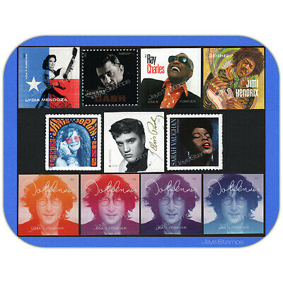 2013 - 2018  MUSIC ICONS   Set of 11  MINT Individual USPS Forever® Stamps