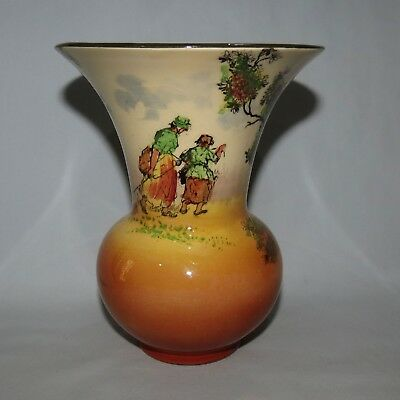 ROYAL DOULTON OLD ENGLISH SCENES THE GLEANERS flared shape vase