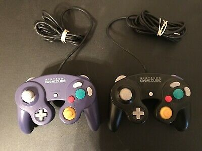 2 Original Nintendo Black  and purple Gamecube  Controller Loose Joysticks Works