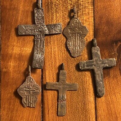 5 Medieval Cross Pendants Golgotha Russia Christian Artifact Calvary Jesus Old