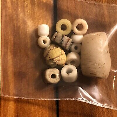 10 Authentic Ancient Roman & Phoenician White Glass Beads Artifacts Antiquities