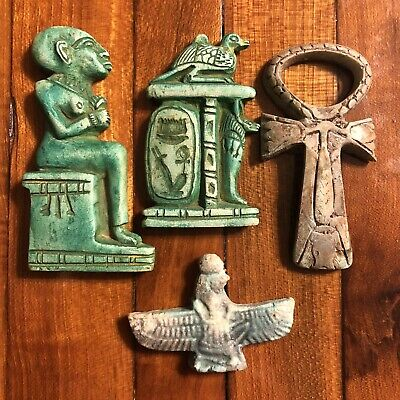 4 Ancient Egyptian Faience Ushabti Amulet Talisman Mummy Pendant Tourist Replica