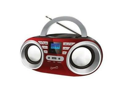 Supersonic SC-506-RED Portable MP3 & CD Player Audio System, Red